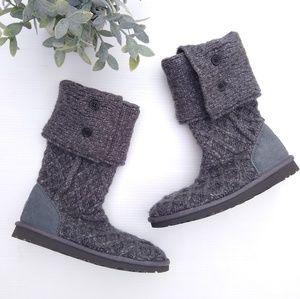 UGG • lattice Cardy tall gray sweater cuffed boots